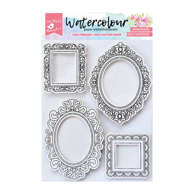 WaterColour Embellishment Self Adhesive - Classic Frames 4Pc