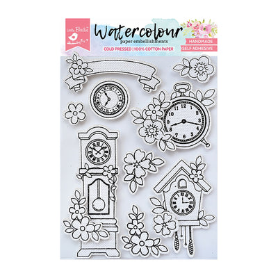 WaterColour Embellishment Self Adhesive - Vintage Clocks 9Pc