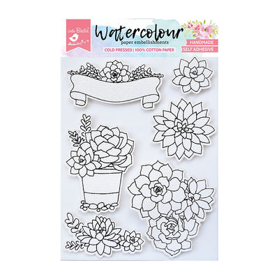 WaterColour Embellishment Self Adhesive - Succulent Garden 6Pc