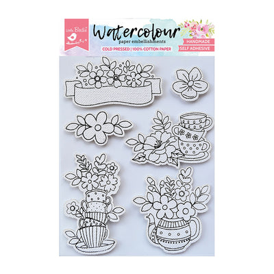 WaterColour Embellishment Self Adhesive - Cuppa Bloom 6Pc