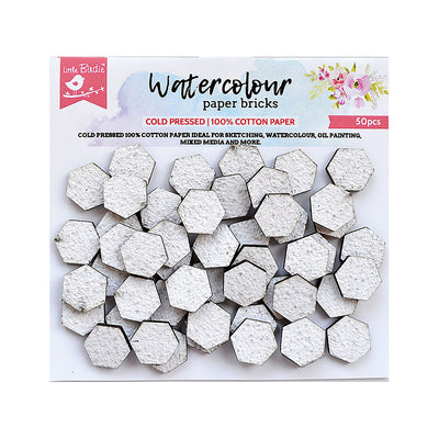 Water Colour Paper Bricks - Hexagon 50Pc