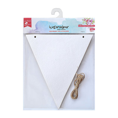 Watercolour Paper Banner - 12 pc, 6.7in x 7.5in, Jute Thread - 3m