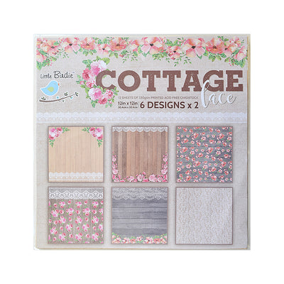 Cottage Lace 6Design X 2 12'' x 12''  12pack  250gsm