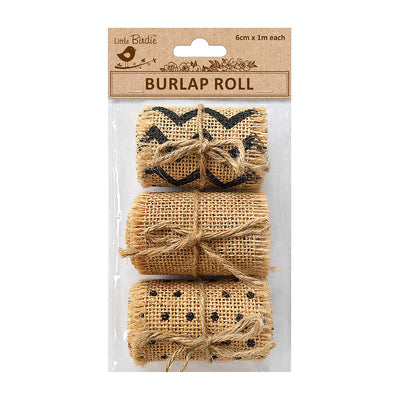 Burlap Roll Printed 6cmx1m Each 3Roll Natural