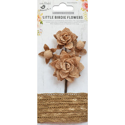Handmade Burlap Amabel -Bunch with Crochet Lace 4pcs, 1 Mtr