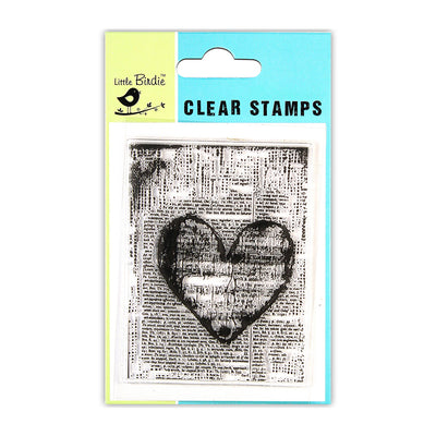 "Clear Stamp Script Heart 3""x4"" 1pc Little Birdie"