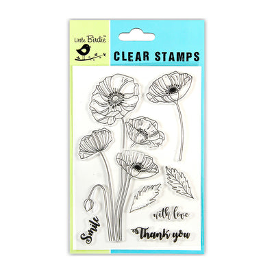 "Clear Stamp Poppy Wishes 4.5""x6.5"" 7pc Little Birdie"