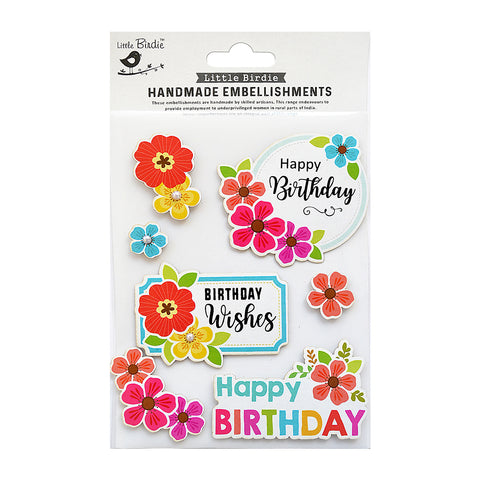 Birthday Wishes Embellishments 7pc Little Birdie