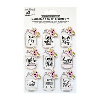 Happy Love your Life Embellishments 9pc Little Birdie