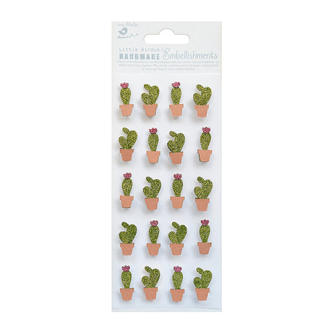 Mini Glitter Embellishments - Cacti 20pc Little Birdie