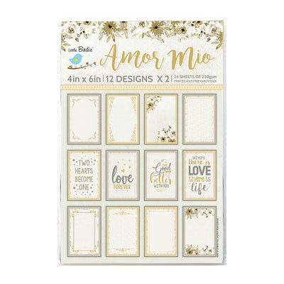 Journaling Cards 4in x 6in 12desx2 Amor Mio 24sheets Little Birdie