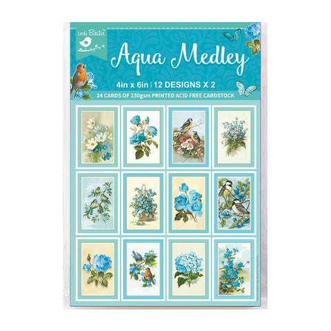 Journaling Cards 4in x 6in 12desx2 Aqua Medley 24sheets Little Birdie