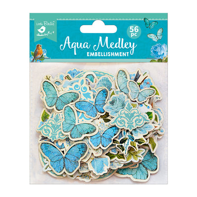 Ephemera Aqua Medley 56pc Embellishments Little Birdie