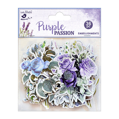 Ephemera Purple Passion  36pc Embellishments Little Birdie