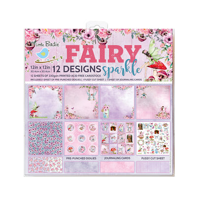 Paper Pack 12in x 12in Fairy Sparkle 12sheets 230gsm Little Birdie