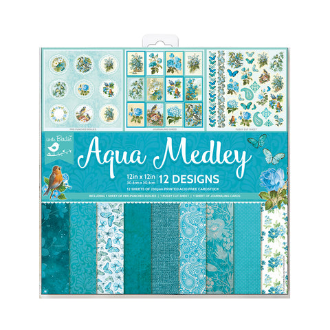 Paper Pack 12in x 12in Aqua Medley 12sheets 230gsm Little Birdie