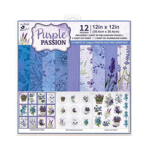 Paper Pack 12in x 12in Purple Passion 12sheets 230gsm Little Birdie