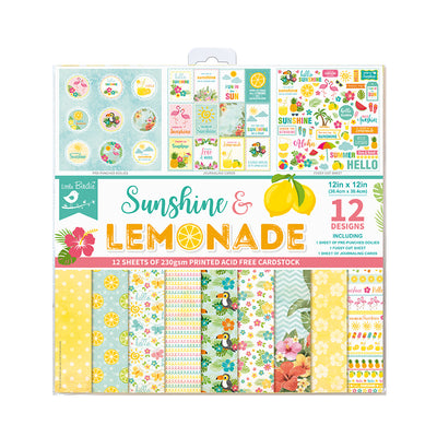 Paper Pack 12in x 12in Sunshine And Lemonade 12sheets 230gsm Little Birdie