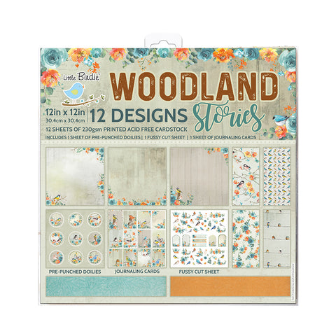 Paper Pack 12in x 12in Woodland Stories 12sheets 230gsm Little Birdie