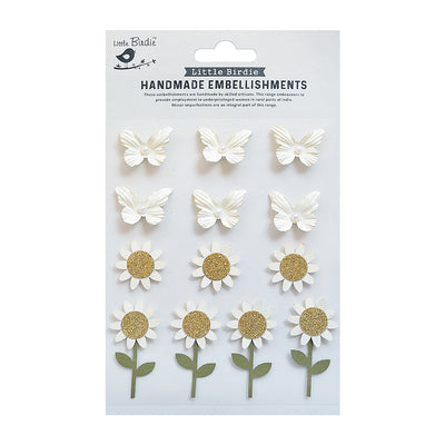 Self Adhesive Stickers - Blooms & Butterflies Ivory Delight 13pc