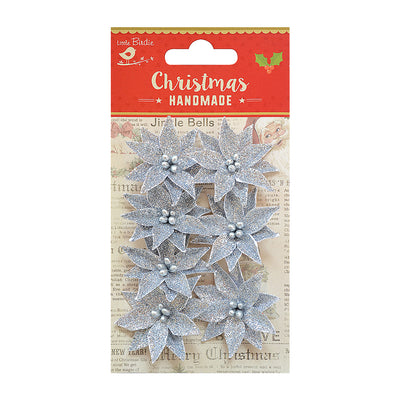 Christmas Glitter Poinsettia - Silver, 7pc