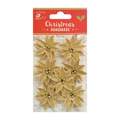 Christmas Glitter Poinsettia - Gold, 7pc