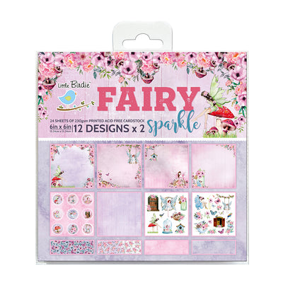 Paper Pack 6in x 6in 12des x 2 Fairy Sparkle 24sheets Little Birdie