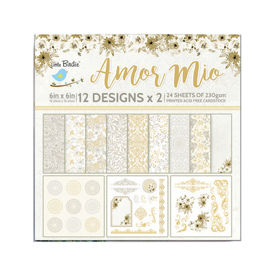 Paper Pack 6in x 6in 12des x 2 Amor Mio 24sheets Little Birdie
