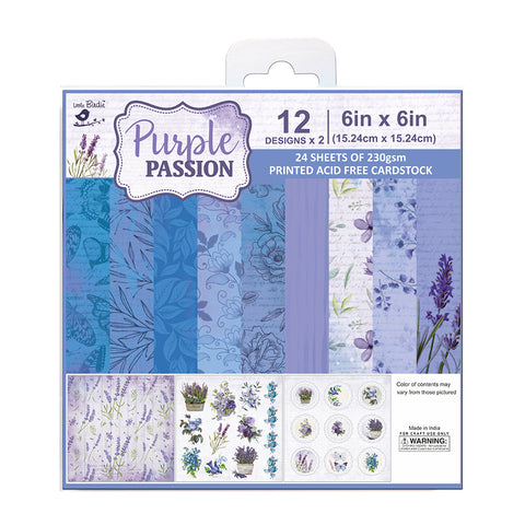 Paper Pack 6in x 6in 12des x 2 Purple Passion 24sheets Little Birdie