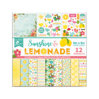 Paper Pack 6in x 6in 12des x 2 Sunshine And Lemonade 24sheets Little Birdie