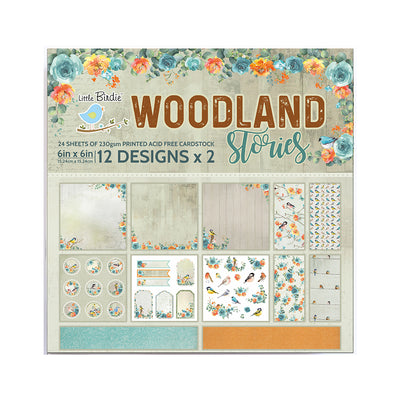 Paper Pack 6in x 6in 12des x 2 Woodland Stories 24sheets Little Birdie