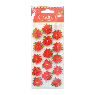 Christmas Embellishments - Poinsettia 15pc