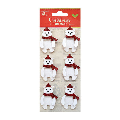 Polar Bear Glitter Embellishments - 6pc