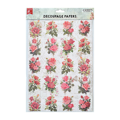 Decoupage Paper A4 - Rose Passion / Rosy Tale 2desx2, 4sheets