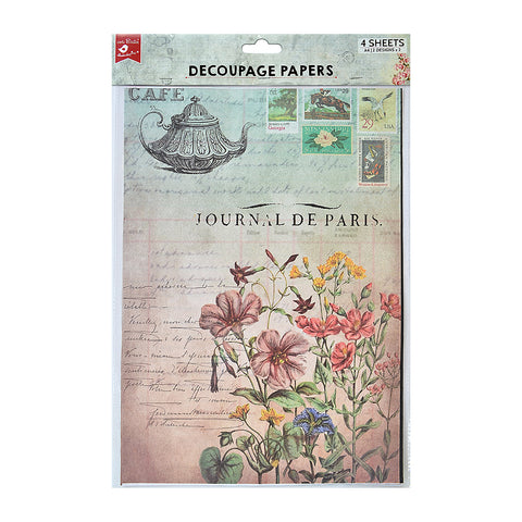 Decoupage Paper A4 - Café Journal / Fleur Fields 2desx2, 4sheets