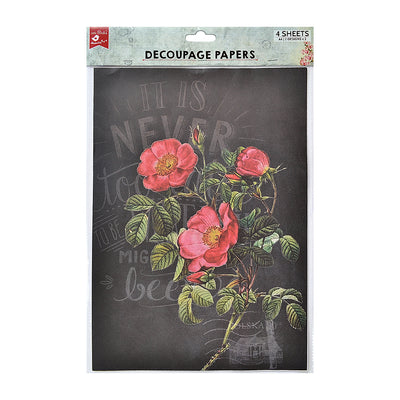 Decoupage Paper A4 - Pretty Primrose / Be Happy 2desx2, 4sheets
