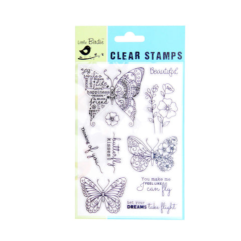 Clear Stamps - Butterfly Kisses 10pc Little Birdie