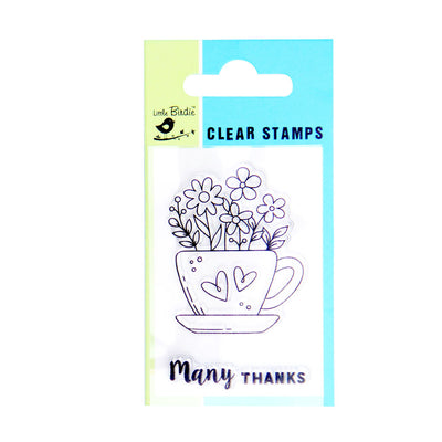 Clear Stamps - Many Thanks 2pc Little Birdie