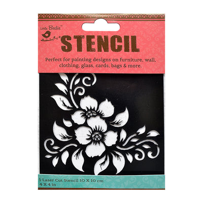 Stencil - Artful Flowers, 4 x 4in, 1pc