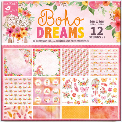 Paper Pack Boho Dreams- 6in x 6in, 24 sheet, 12 Designs, 250gsm