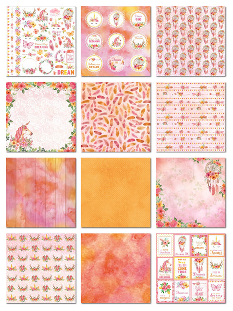Paper Pack  Boho Dreams- 12in x 12in, 12 Sheet, 12 Designs, 250gsm