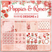 Paper Pack Poppies & Roses- 6in x 6in, 24 sheet, 12 Designs, 250 gsm