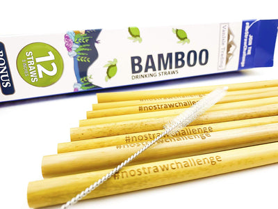 12 Natural Reusable Bamboo Straws – comes with cleaning brush