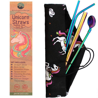 Unicorn Rainbow Stainless Steel Straw Set