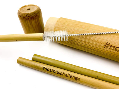 3 Bamboo Drinking Straws and Case -  Beautiful Natural Bamboo Case with Cleaning Brush