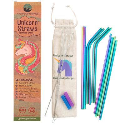 Rainbow Stainless Steel Unicorn Straws