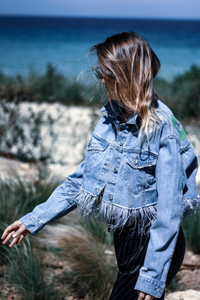 Hand-painted Cropped Jacket with Feathers