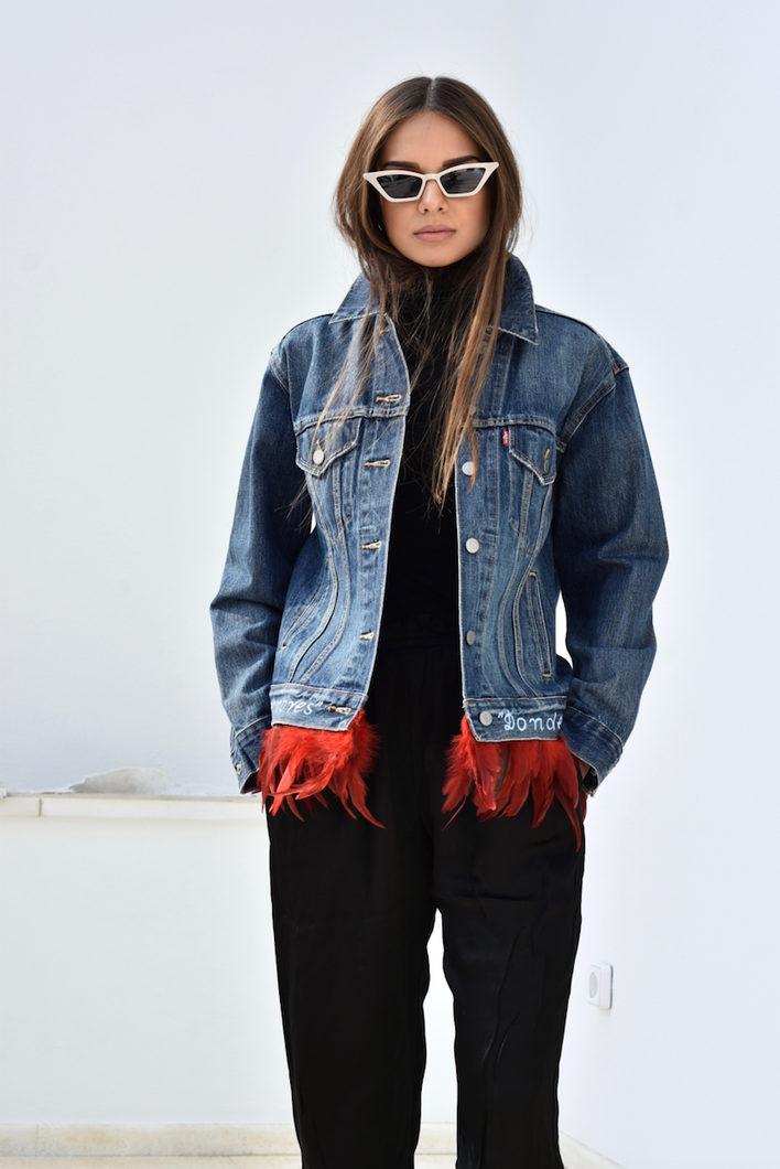 Vintage Levi's Denim Jacket with Feathers