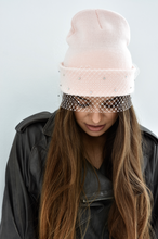 Veiled Beanie in Baby Pink with Bow and Shiny Beads