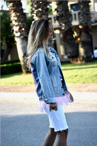 Denim Jacket with Pink Feathers